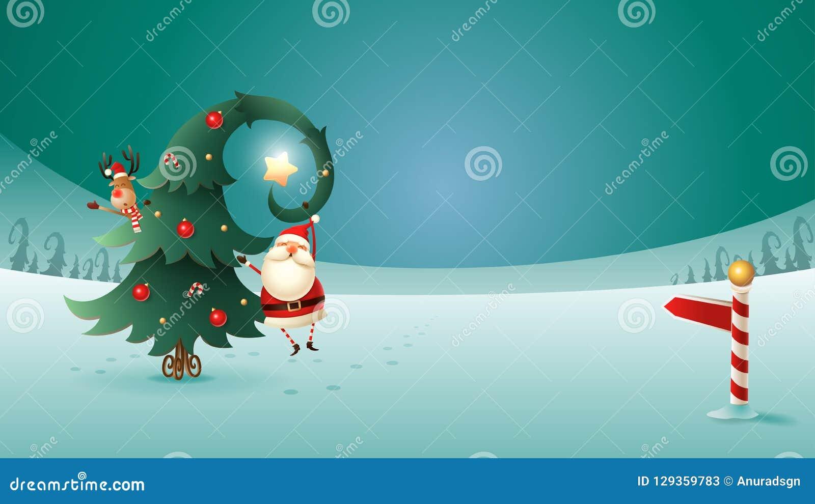 Santa Claus en Rendier met Kerstboom op de winterlandschap Arcticateken