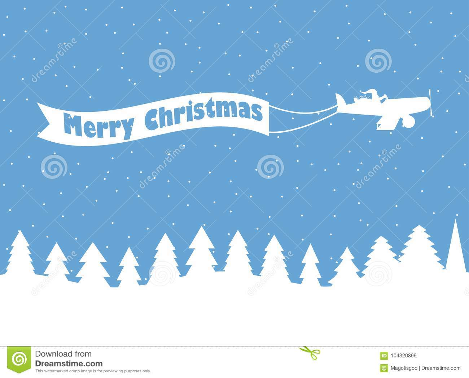 Santa Claus en un avión con una cinta Fondo del invierno con nieve que cae Contorno blanco de árboles de navidad Vector