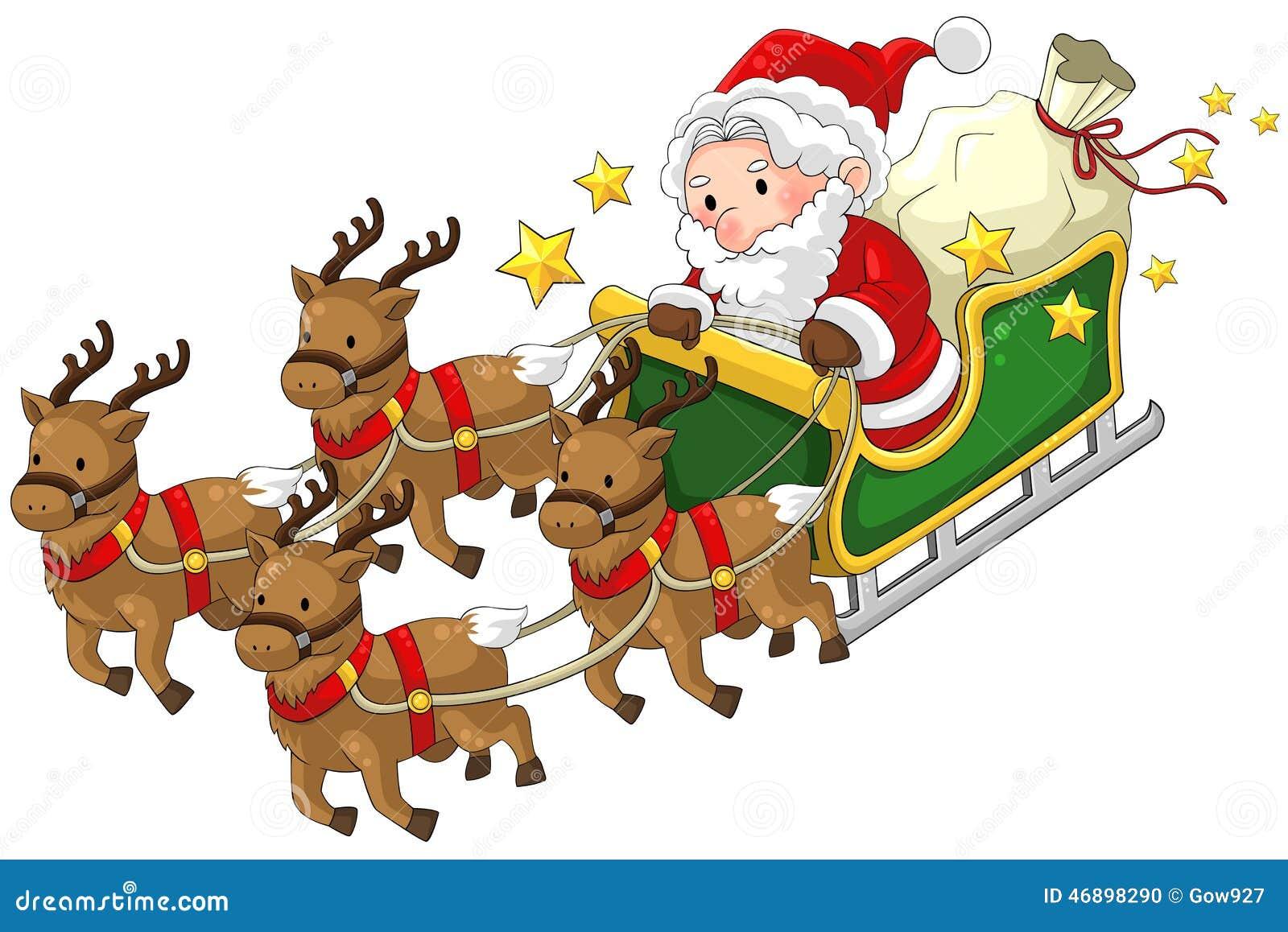 Santa Claus En Un Trineo Del Reno En La Navidad En Blanco
