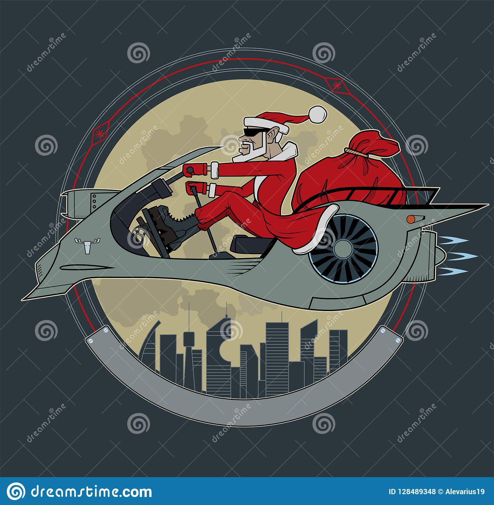 Santa Claus en una vespa del espacio