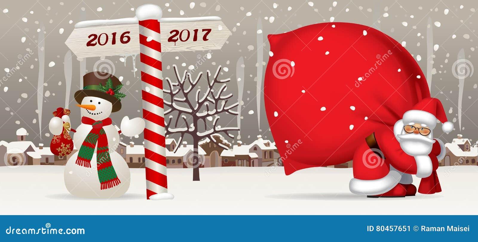 Santa Claus Et Le Bonhomme De Neige Avec Une Nouvelle Année