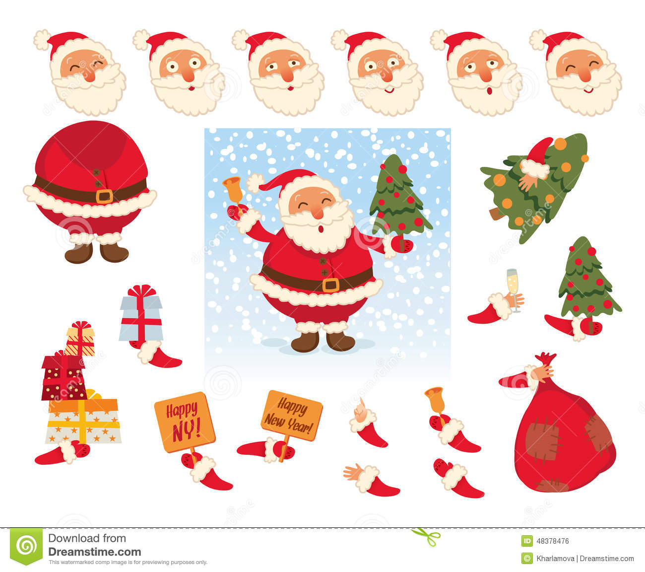 Santa Claus. Parts of body template for design work and animation ...