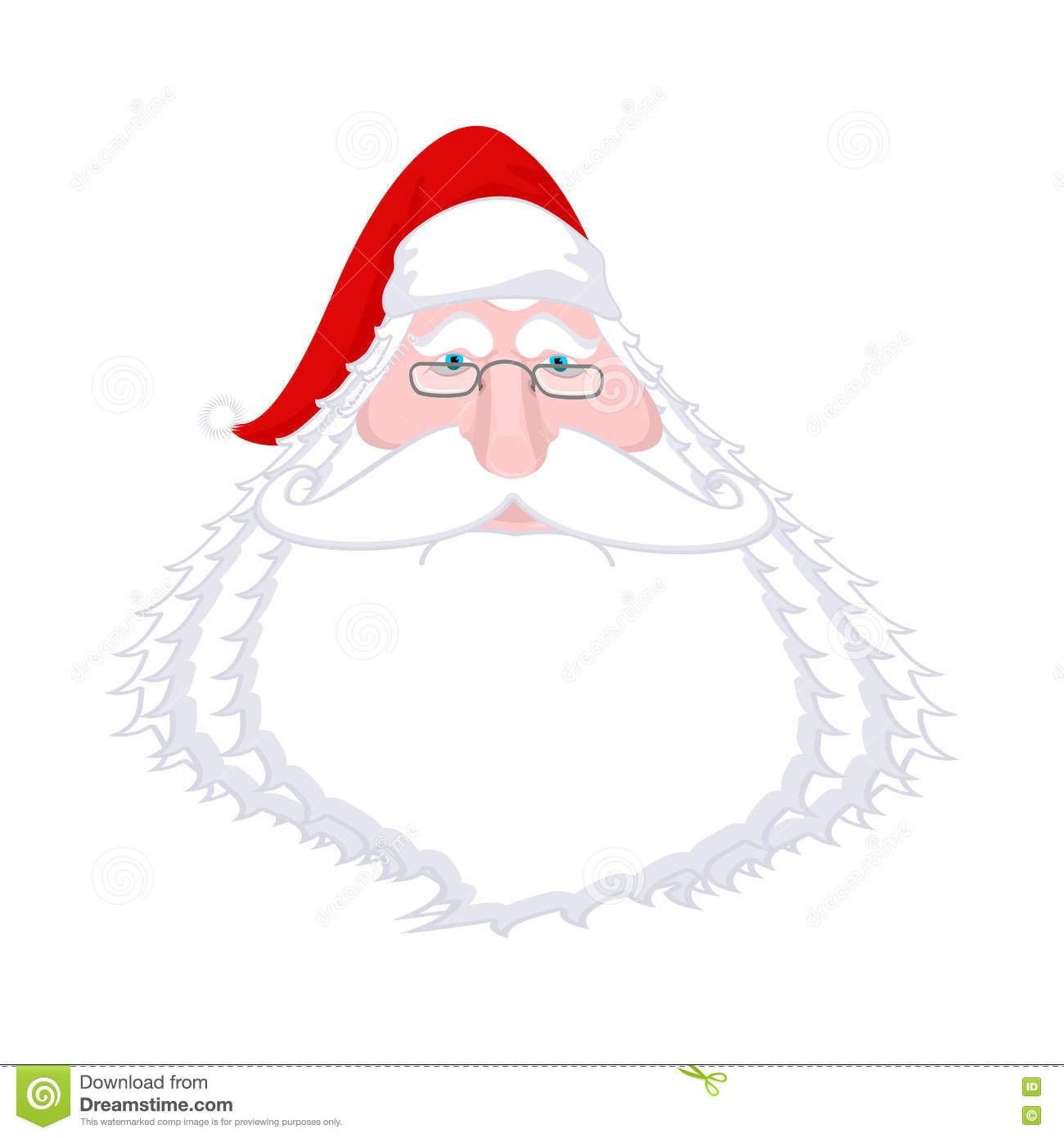 Santa claus face isolated christmas grandpa with white beard an santa claus face isolated christmas grandpa with white beard and red cap illustration for new year xmas template design maxwellsz