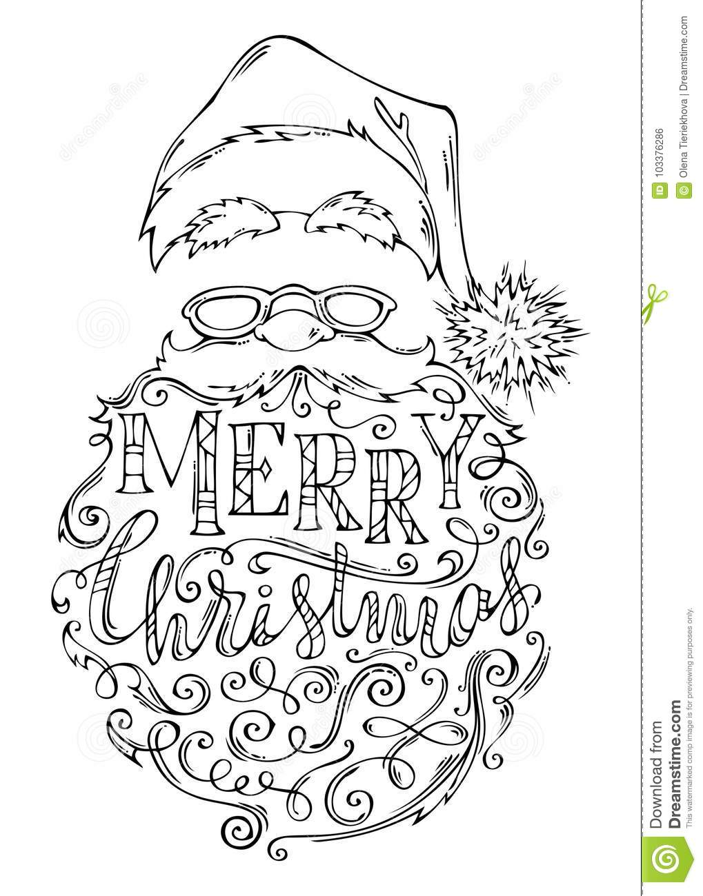 Doodles Merry Christmas Lettering. Stock Vector - Illustration of ...