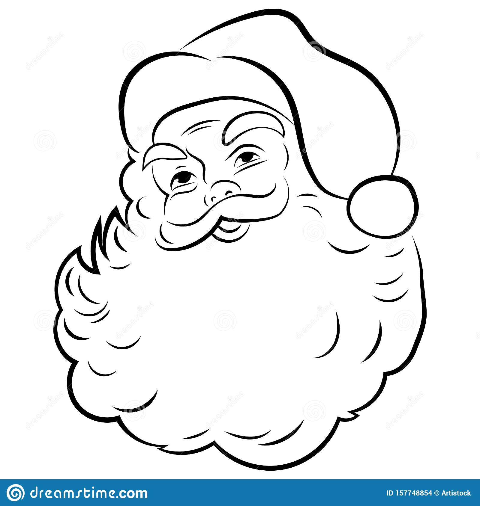Santa Claus Face. Portrait Of Santa. Black White Christmas ...