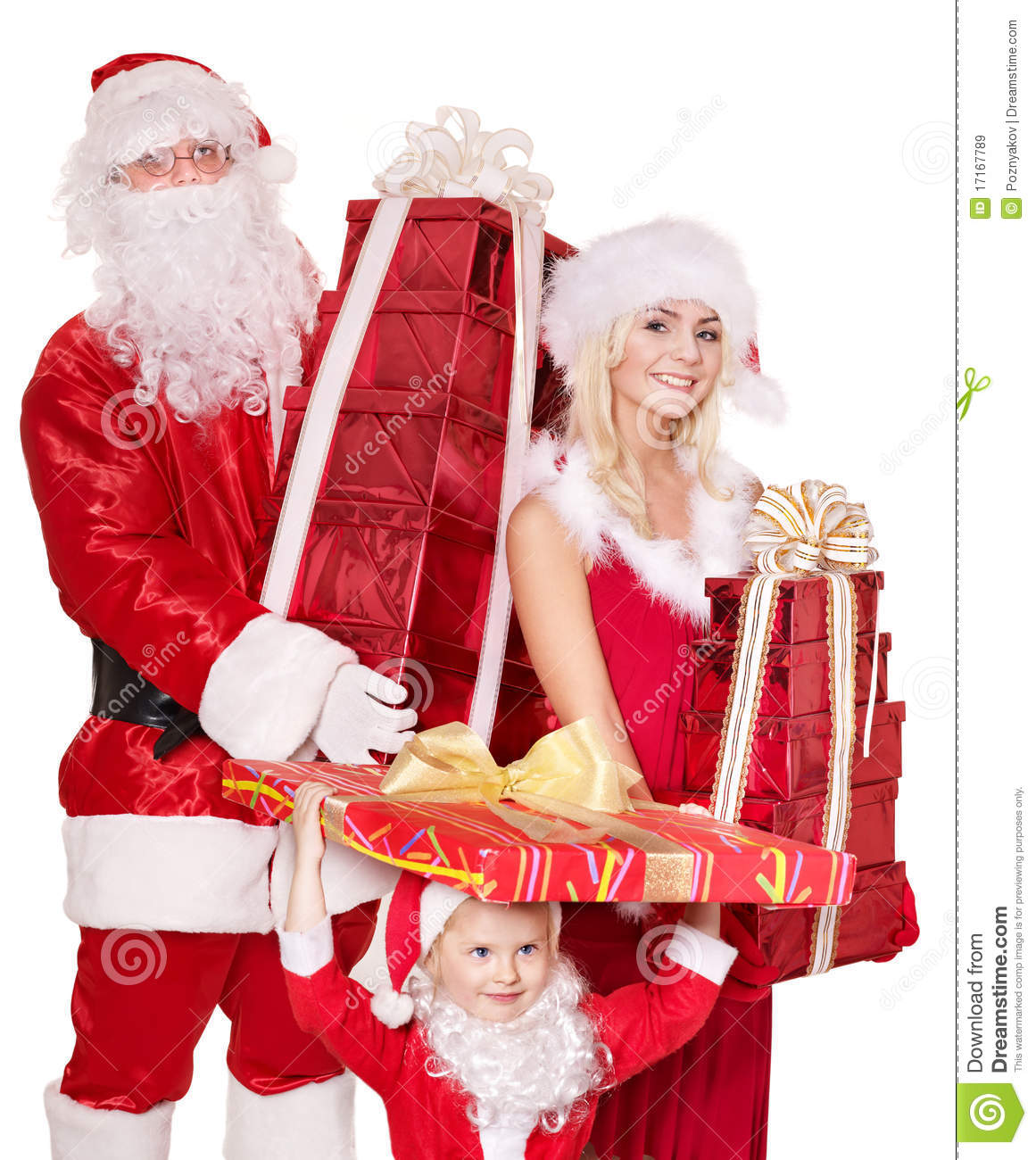santa claus family with child holding gift box   royalty