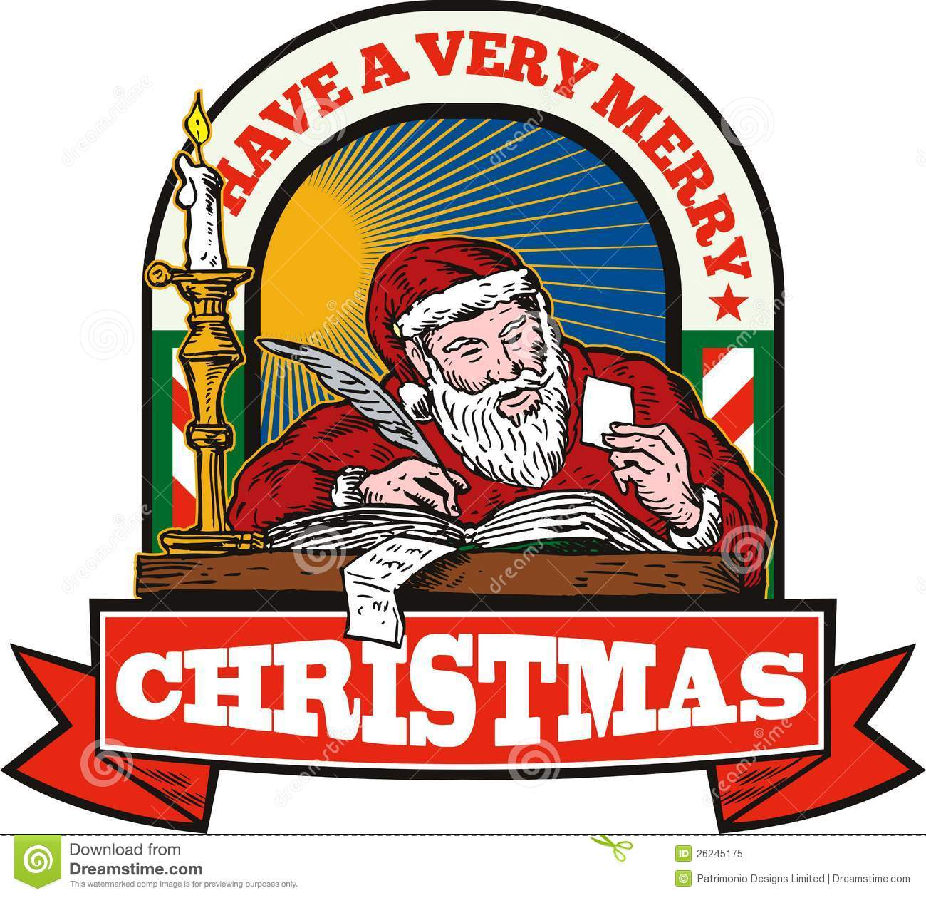 Santa claus writing with a quill royalty free stock