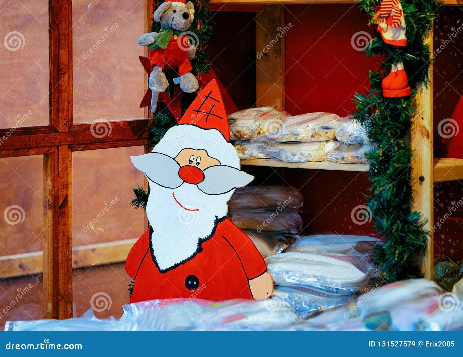Christmas Bazaar Near Me.Santa Claus Figurine At Christmas Market Stall In Kaiser
