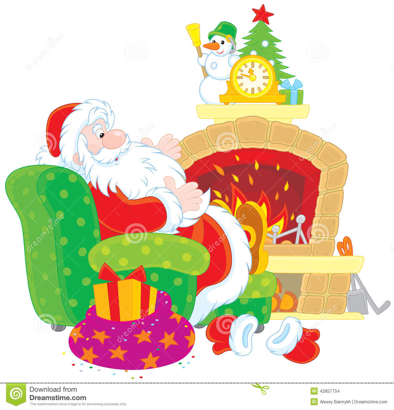 santa claus by a fireplace stock vector image 42857754