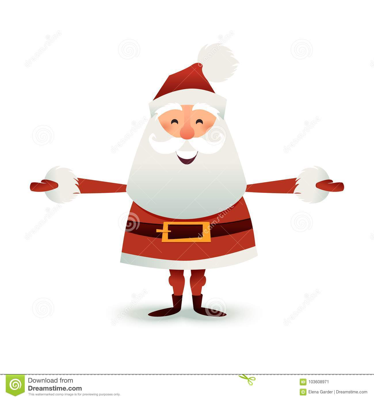 Father Christmas Cartoon Images.Santa Claus Flat Illustration Happy Christmas Father