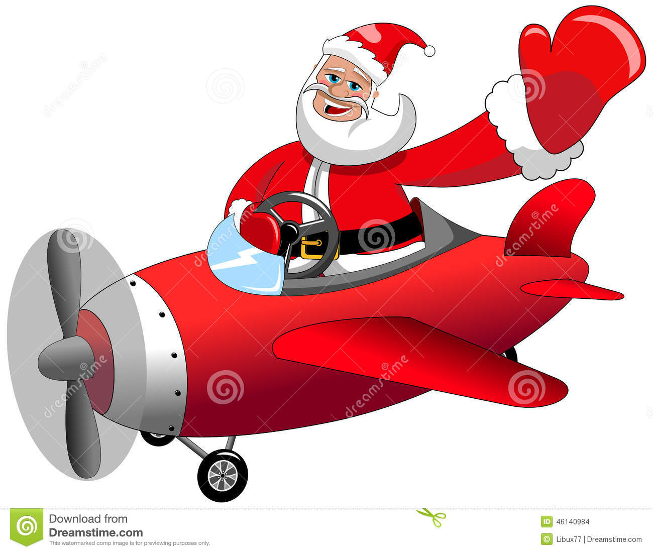 Santa Claus Flying Airplane Christmas Isolated