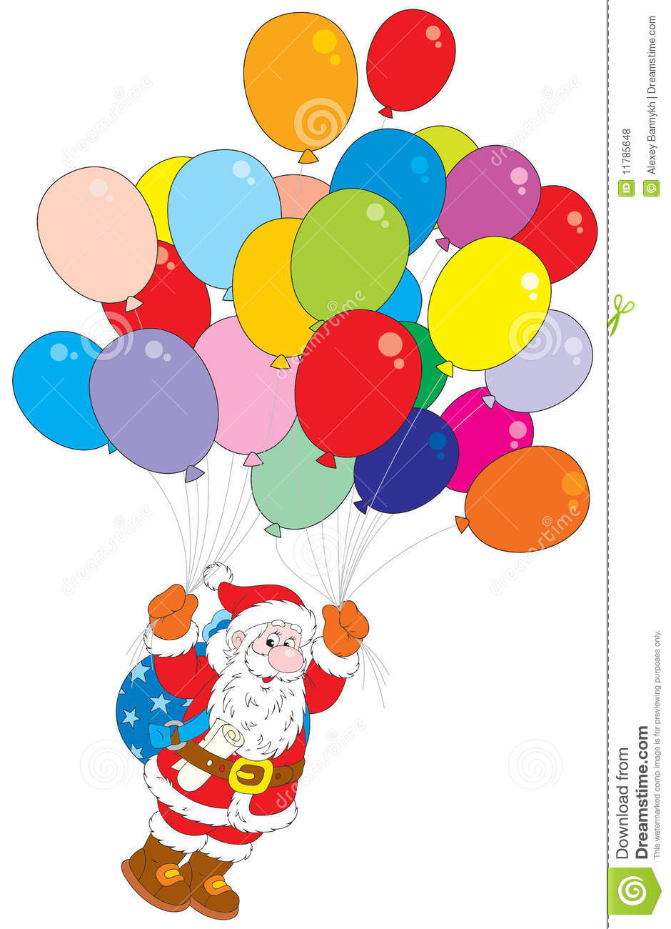 Santa Claus Flying With Multicolor Balloons Royalty Free