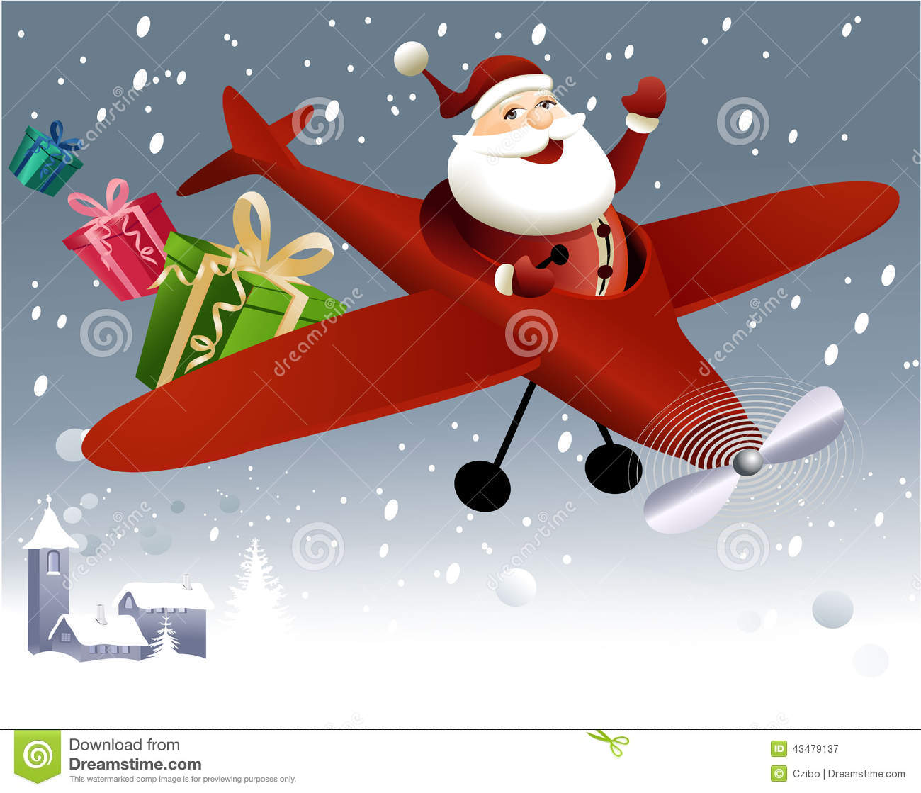 Airplane Christmas Clipart