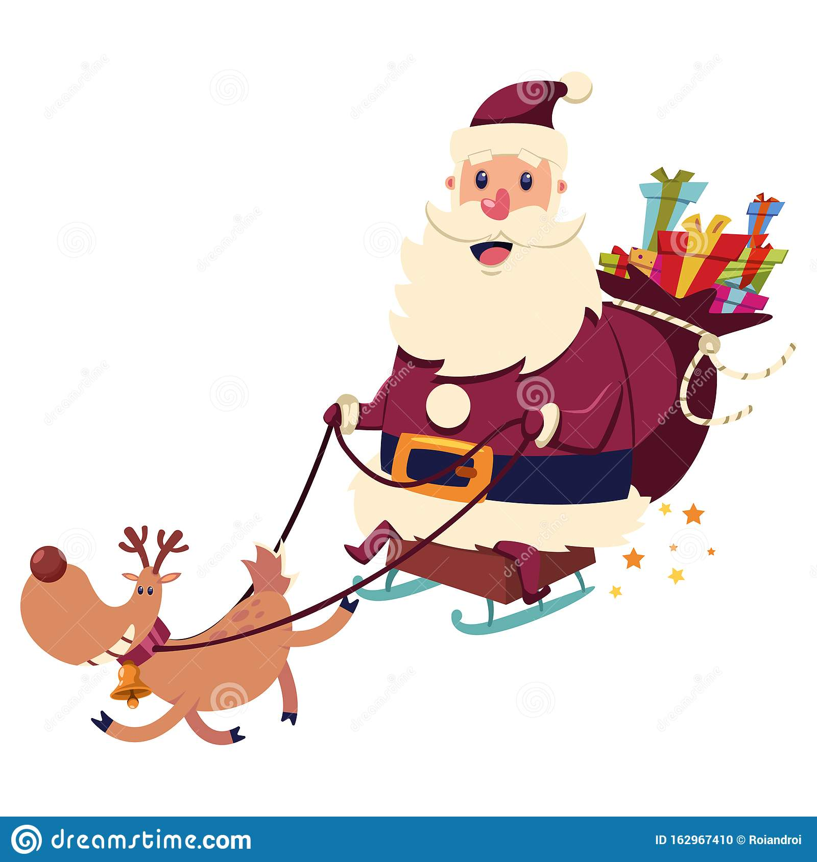 Santa Claus Is Flying On A Sleigh With Reindeer. Vector ...