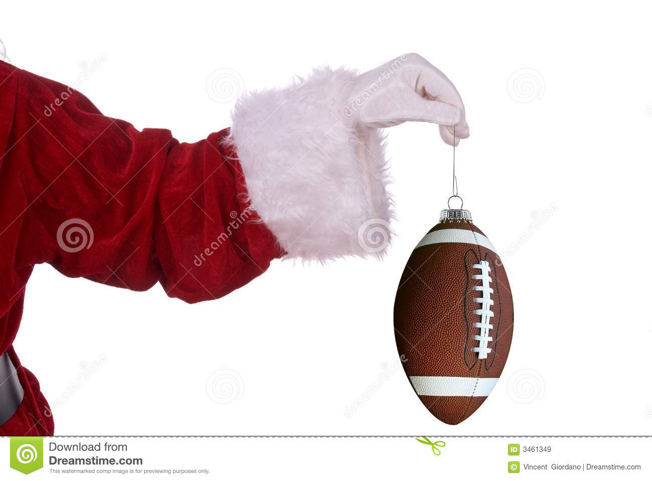 santa claus with football ornament royalty free stock images