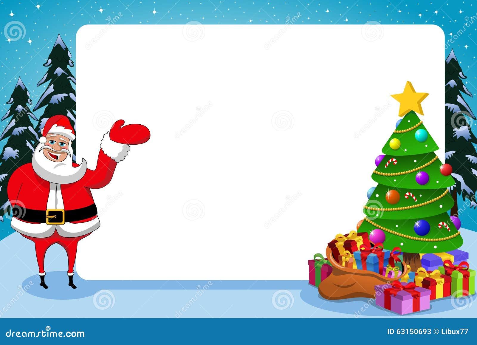 Santa Claus Frame Xmas Tree Stock Vector - Image: 63150693