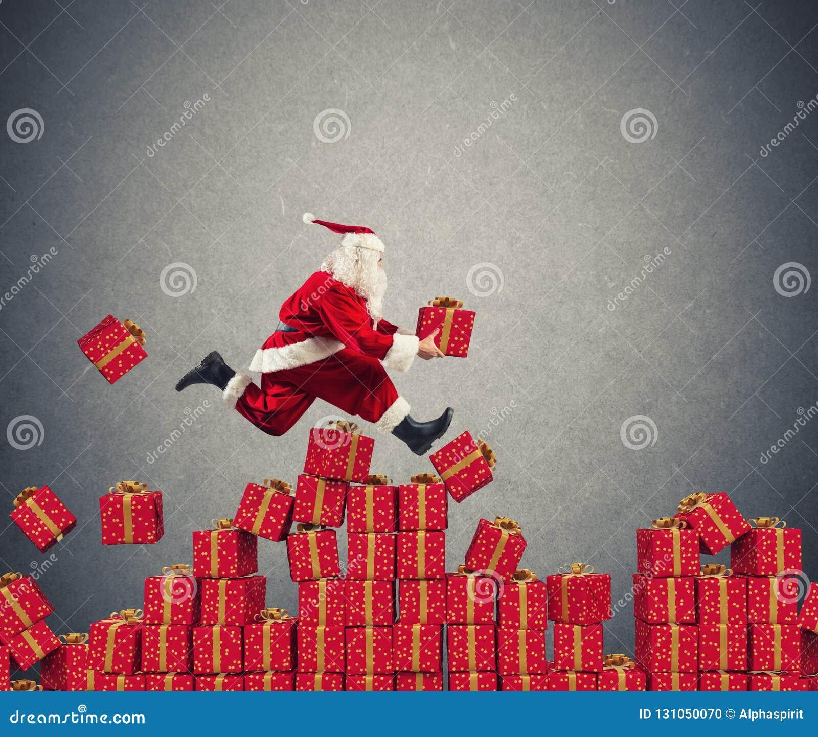 Santa Claus går fastar över julgåvan