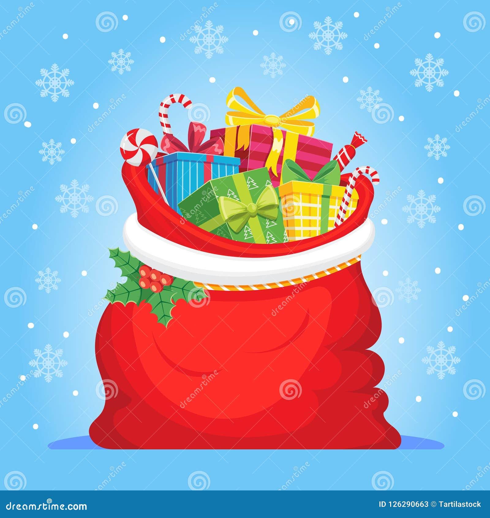 Santa Claus gåvor i påse Julklappar plundrar, högen av sötsaker gåva och xmas-vektorillustrationen