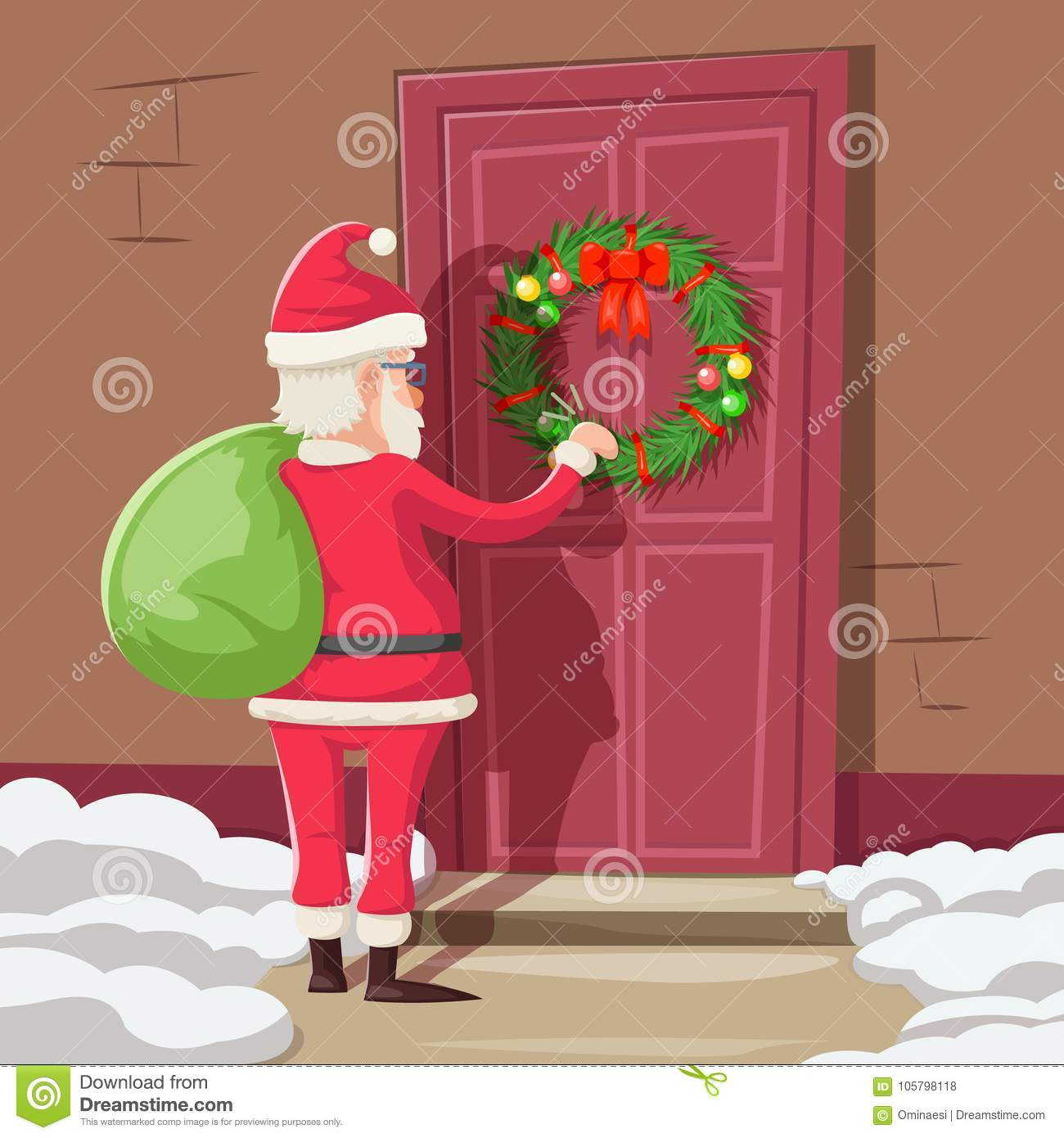 Santa Claus With Gift Bag Knock Christmas New Year Decoration Door
