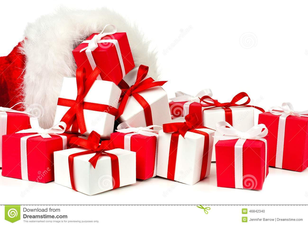 Santa Claus Gift Bag With Spilling Gifts Stock Photo - Image: 46842340