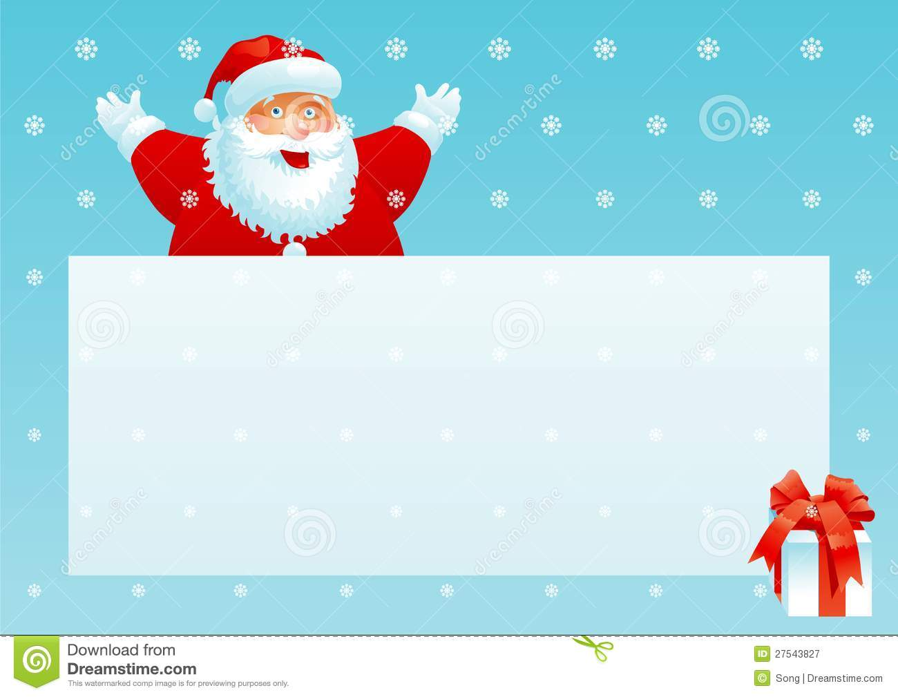 santa claus and gift box with christmas letter stock vector
