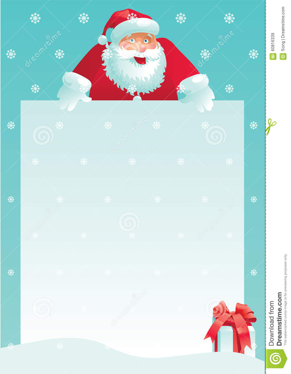 Santa Claus And Gift Box With Christmas Letter Stock Vector - Image ...