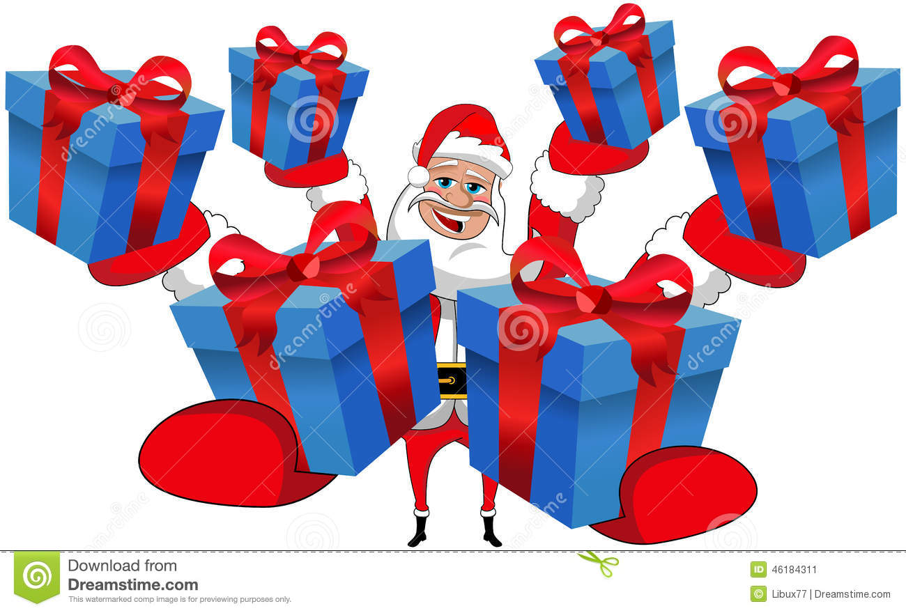 Santa Claus Gift Gifts Christmas Isolated Stock Illustration ...