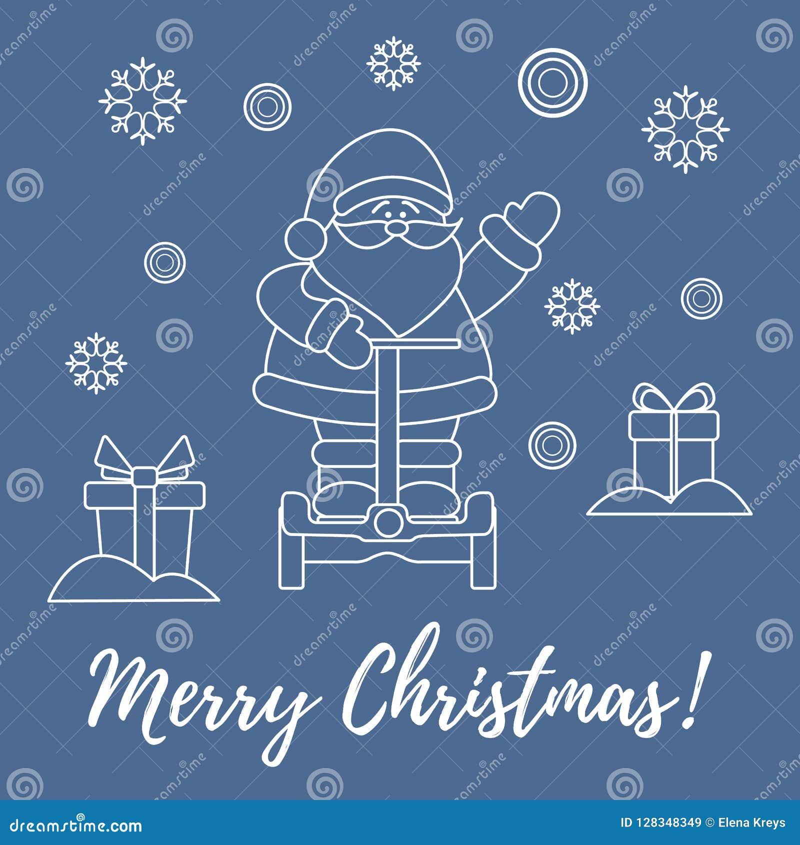 Santa Claus, giften, sneeuwvlokken