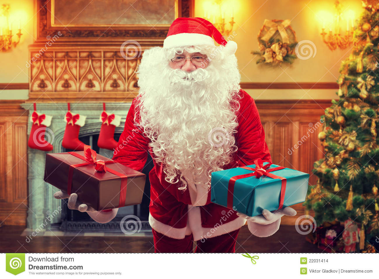 Santa claus with gifts stock images image