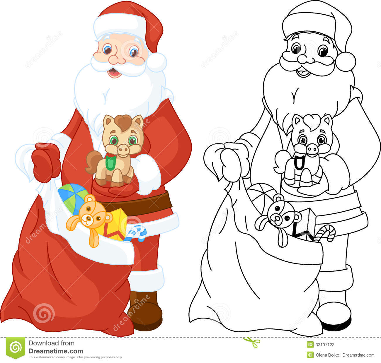 Santa Claus With Gifts Coloring Page Stock Vector