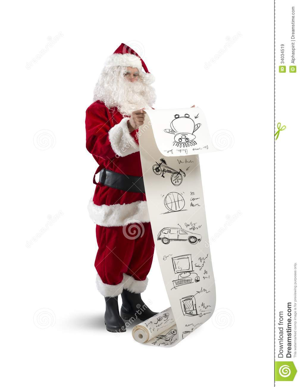 Santa claus with gifts list royalty free stock images