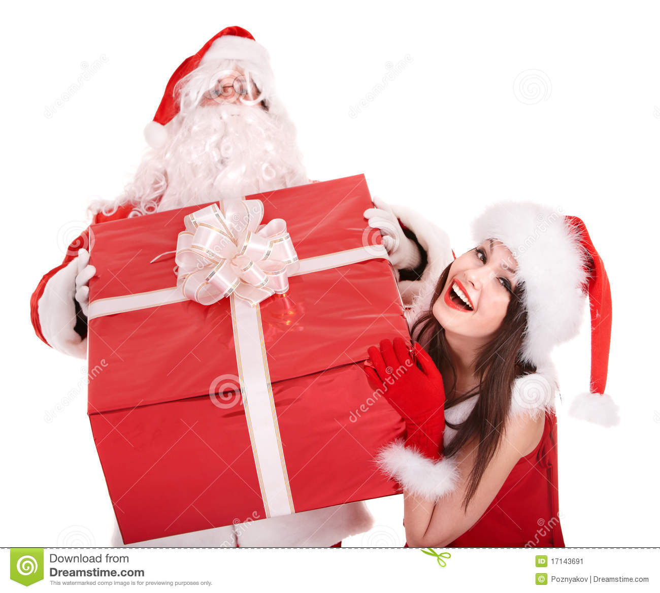 Santa claus and girl with big gift box stock image