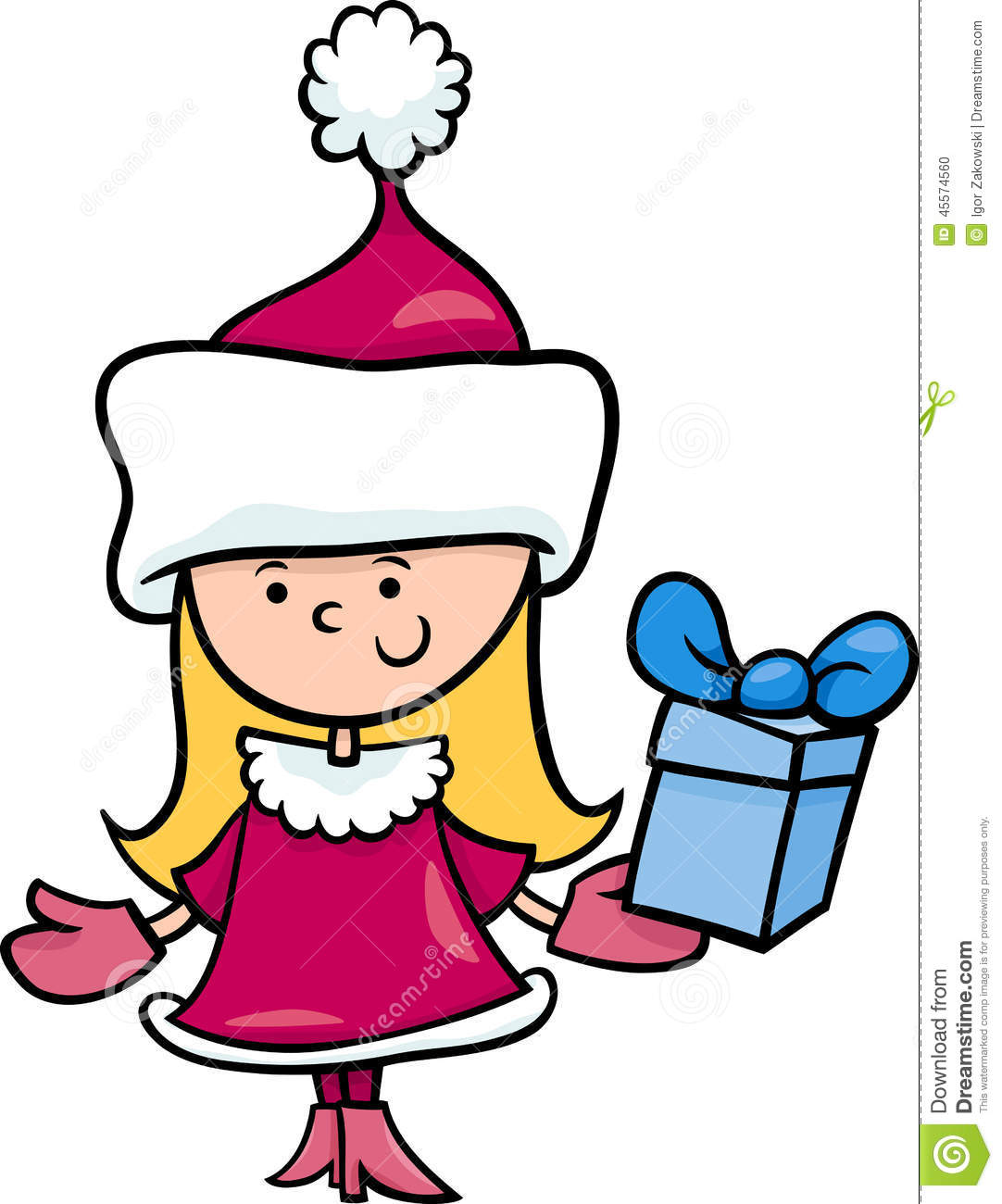 Christmas Toys Cartoon : Santa claus girl cartoon illustration stock vector image