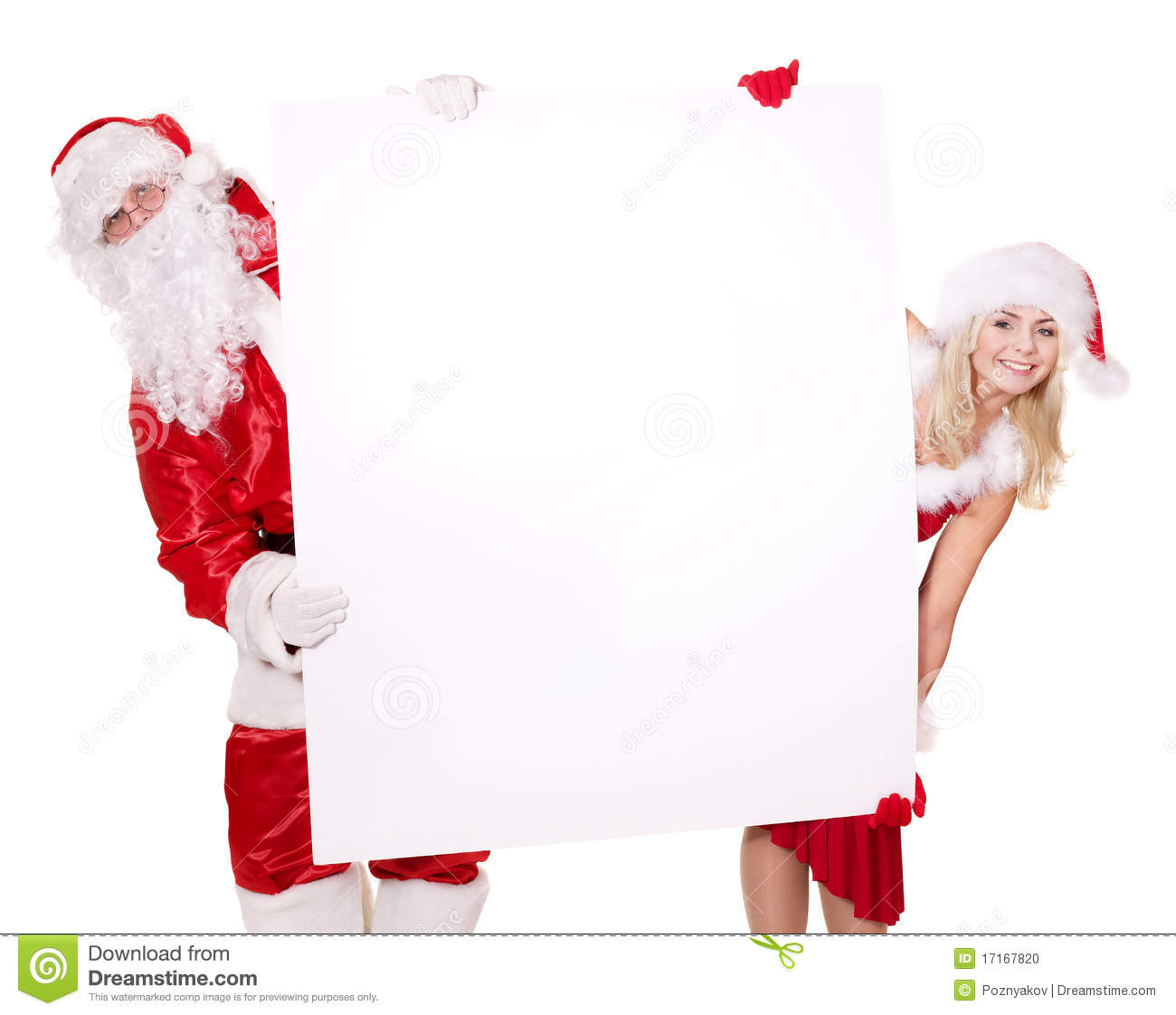Santa Claus And Girl Holding Banner Stock Photo Image
