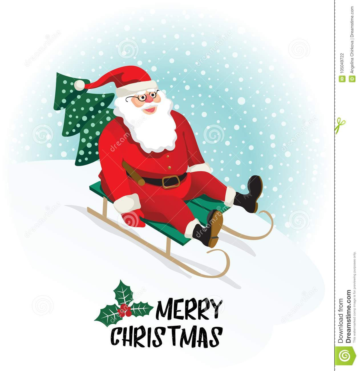 Santa claus gives gifts on sledging vector illustration stock santa claus gives gifts on sledging greeting card vector illustration m4hsunfo
