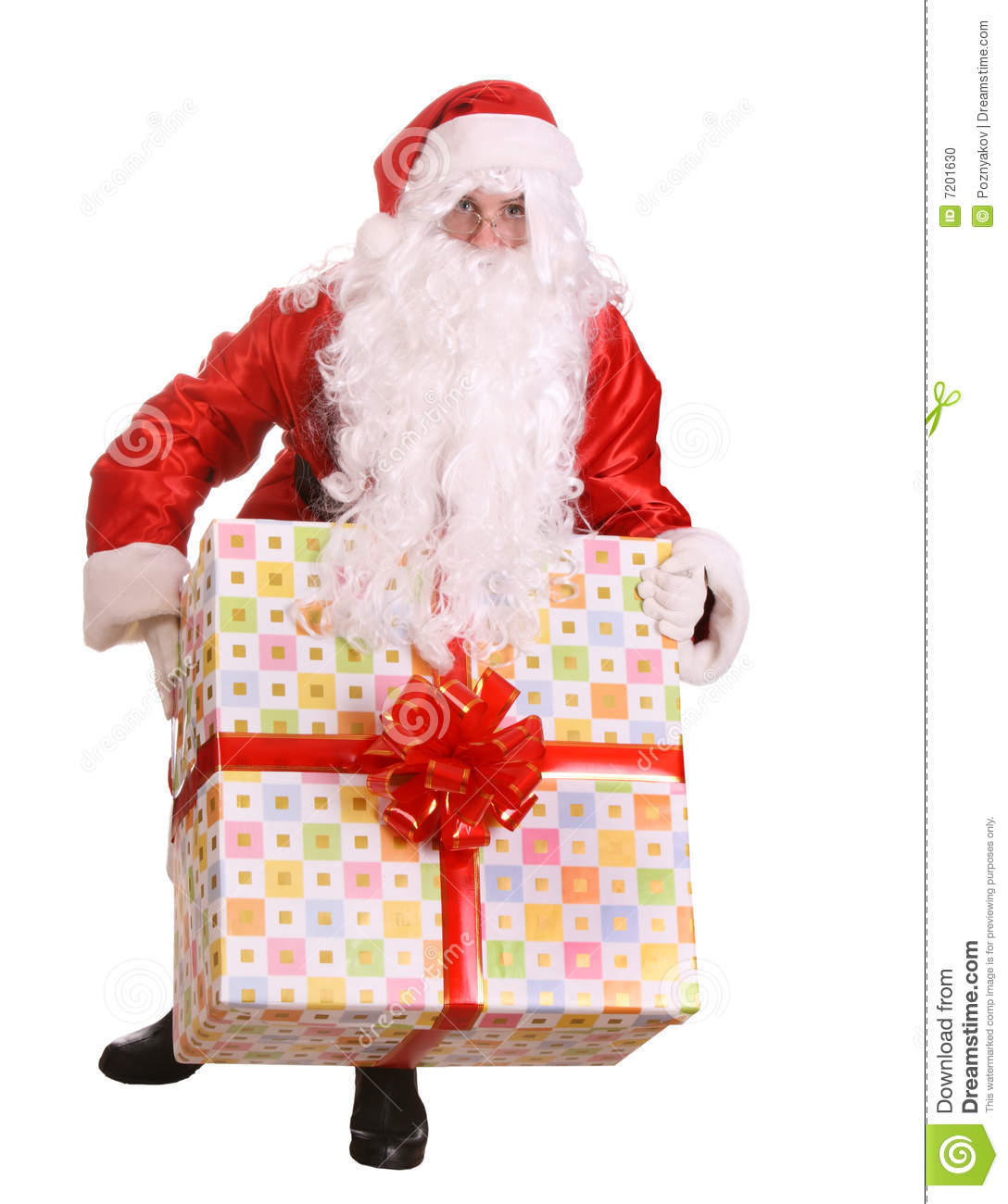 Santa claus giving big gift box stock photo image