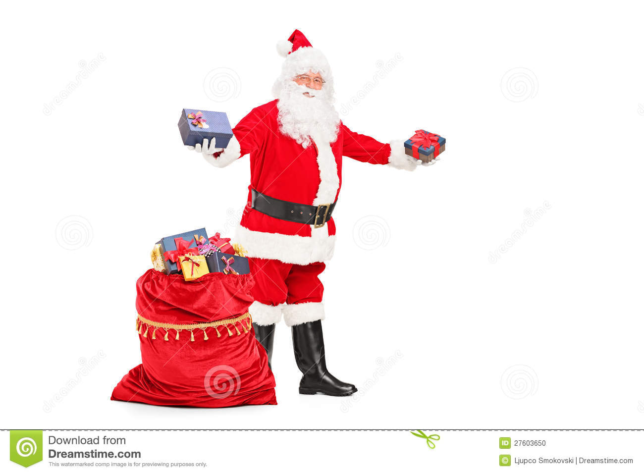 Santa claus giving gifts and bag full of presents stock photo royalty free stock photo negle Gallery