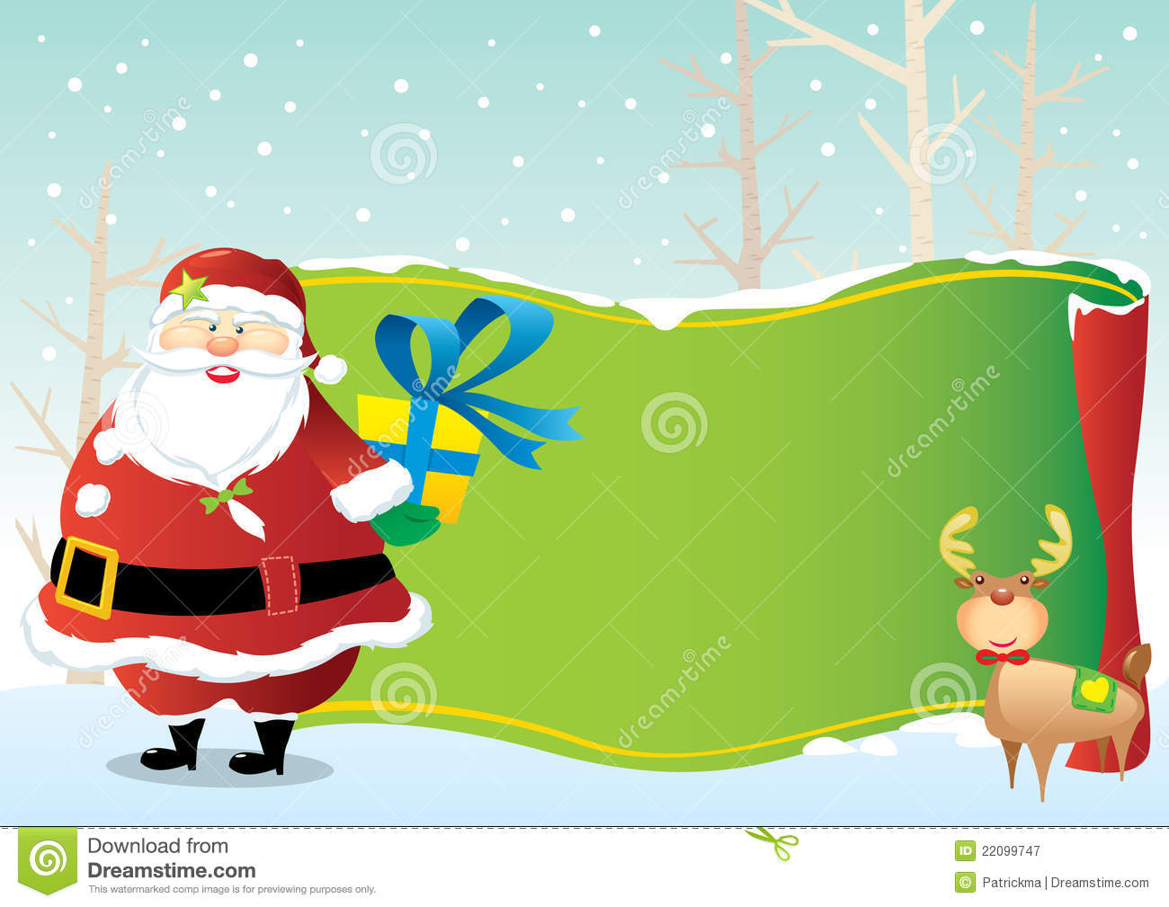 Santa Claus And The Green Decoration Scroll Stock Vector ...