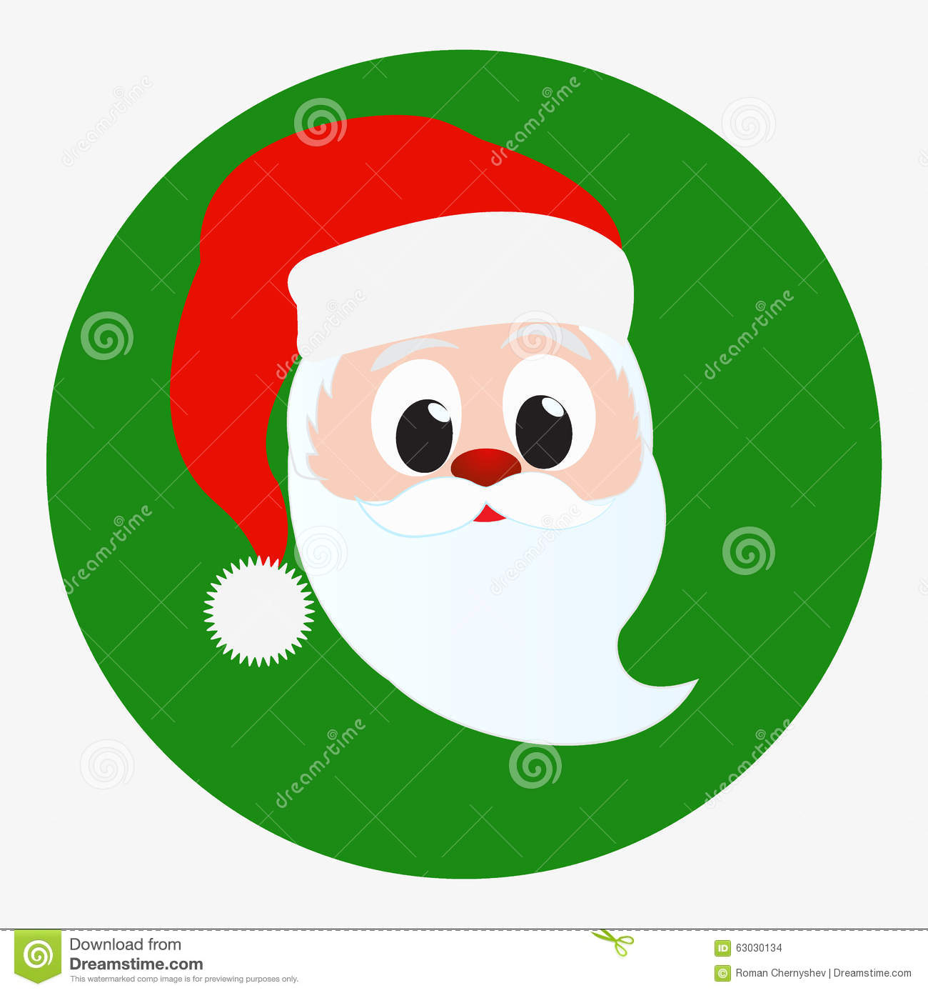 afe461ca8b589 Santa Claus happy face portrait. Icon isolated on green circle background.  Red Christmas hat and white beard and mustache. Editable Christmas Card  vector ...