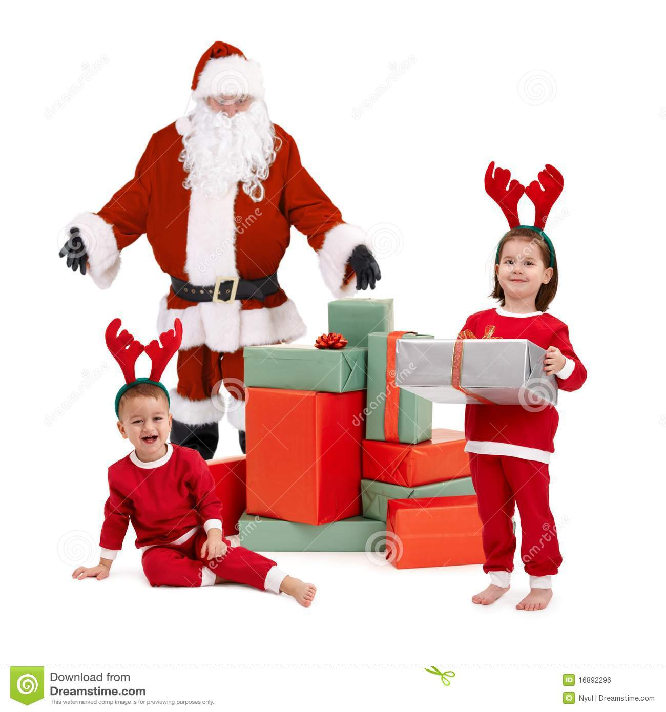 Santa claus with happy little children in costume royalty