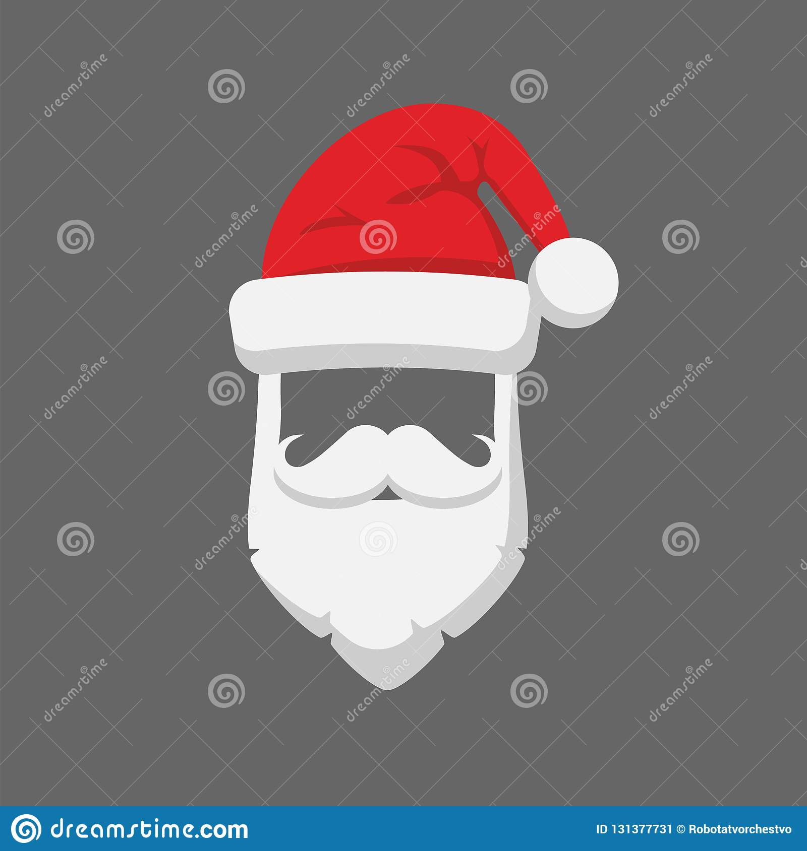 santa claus hat and beard template icon isolated on white background