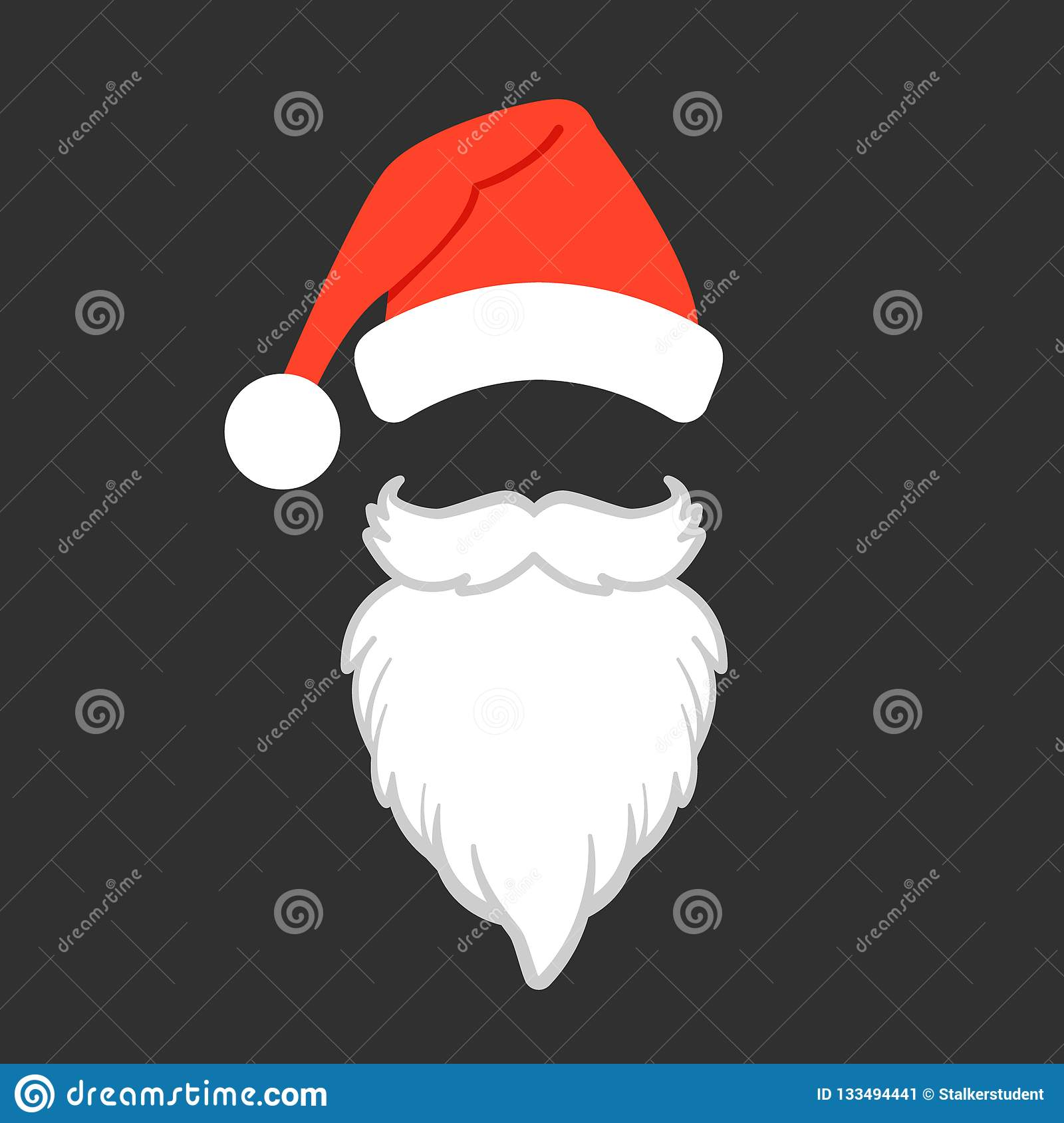 74504ac034ca1 Santa Claus Hat And Beard. Santa Claus Vector Illustration. Stock ...