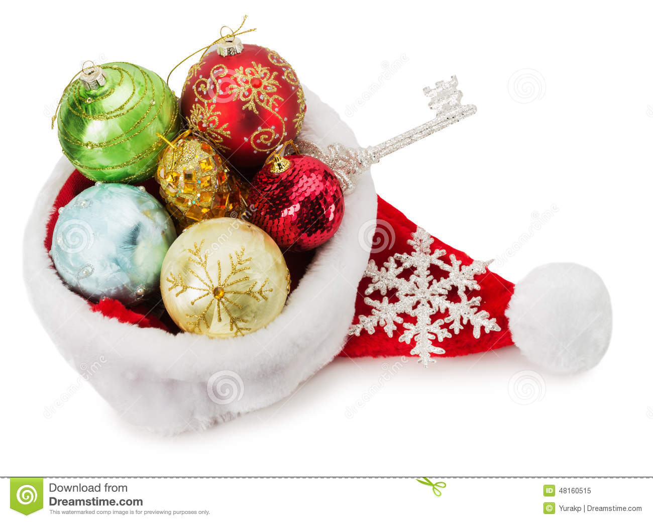Santa claus hat with christmas balls stock photo image