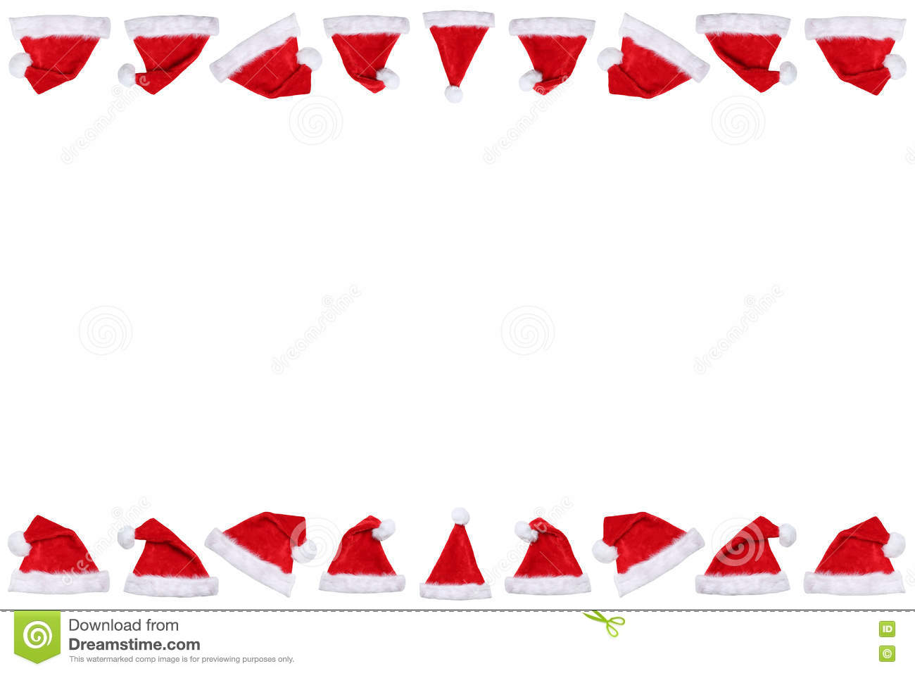 Santa Claus hat hats on Christmas border copyspace copy space wi