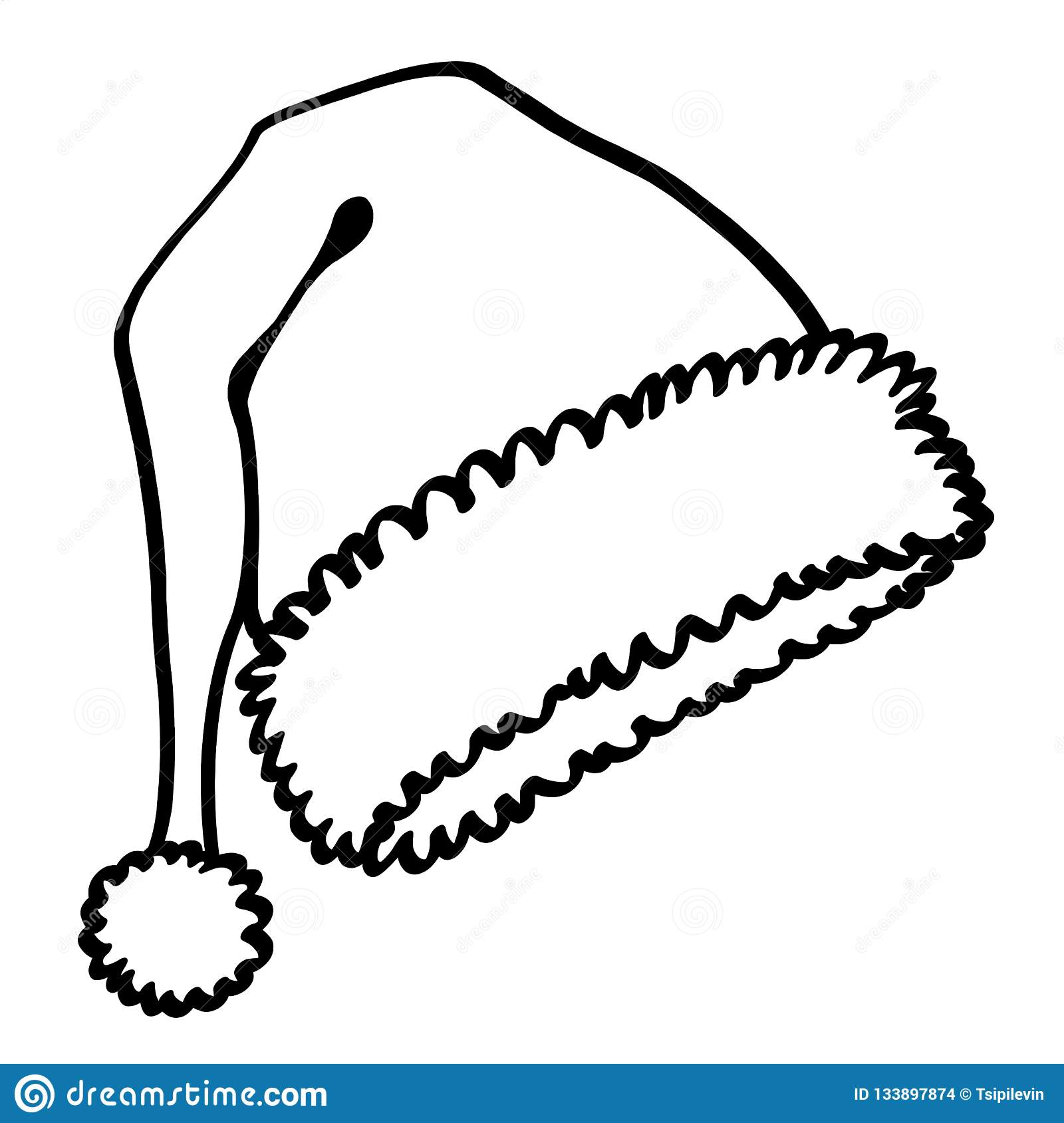 bef5c33a9bda3 Santa Claus hat outline illustration on white background  Christmas santa  hat black and white drawing