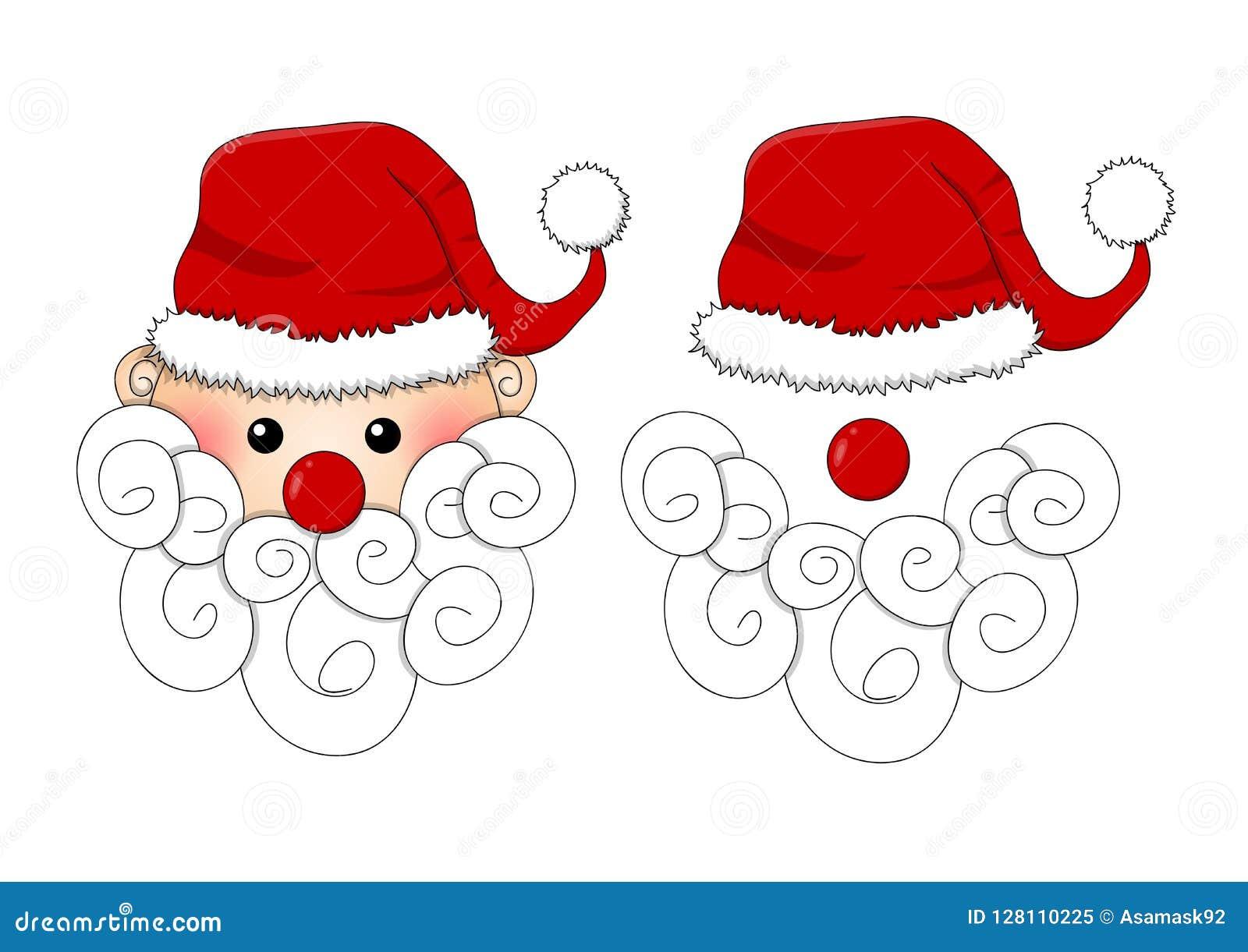 Santa Claus, Santa Hat, Rode Neus en Witte die Baard op Witte Achtergrond wordt geïsoleerd Vector illustratie