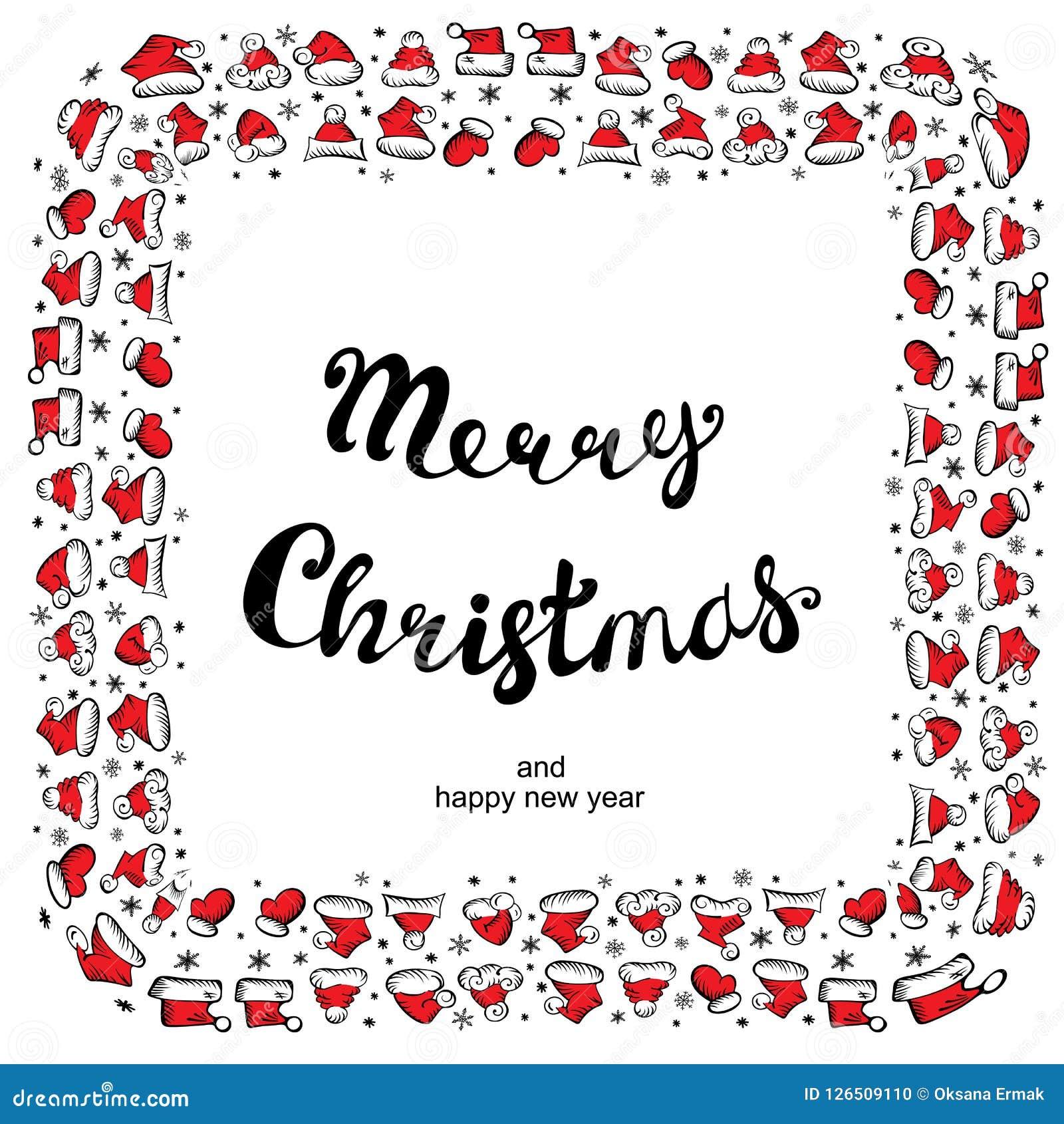 Santa Claus Hats Christmas Round Frame para o cartão do feriado