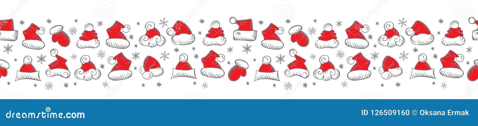 Santa Claus Hats Christmas Seamless Pattern para o empacotamento do feriado