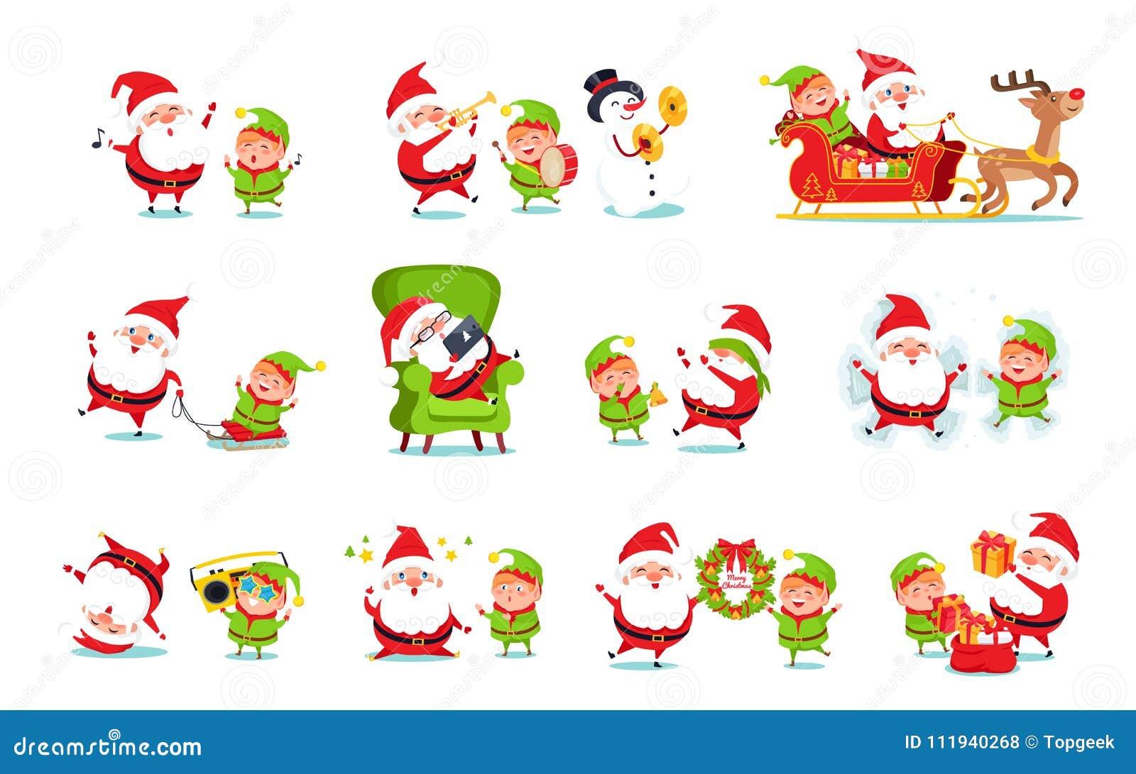 santa claus helper activities vector illustration - Santa Claus Activities
