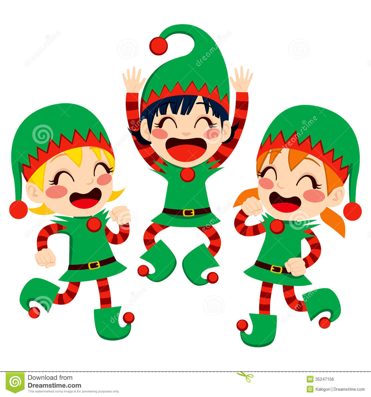 Happy Elves Clipart